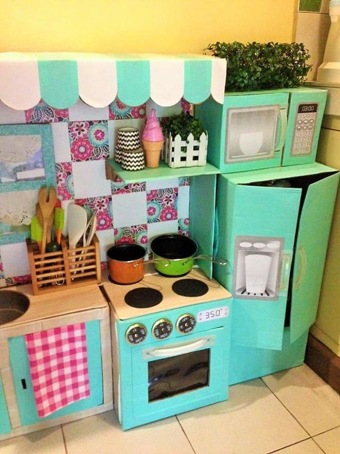 Детская кухня из картона фото