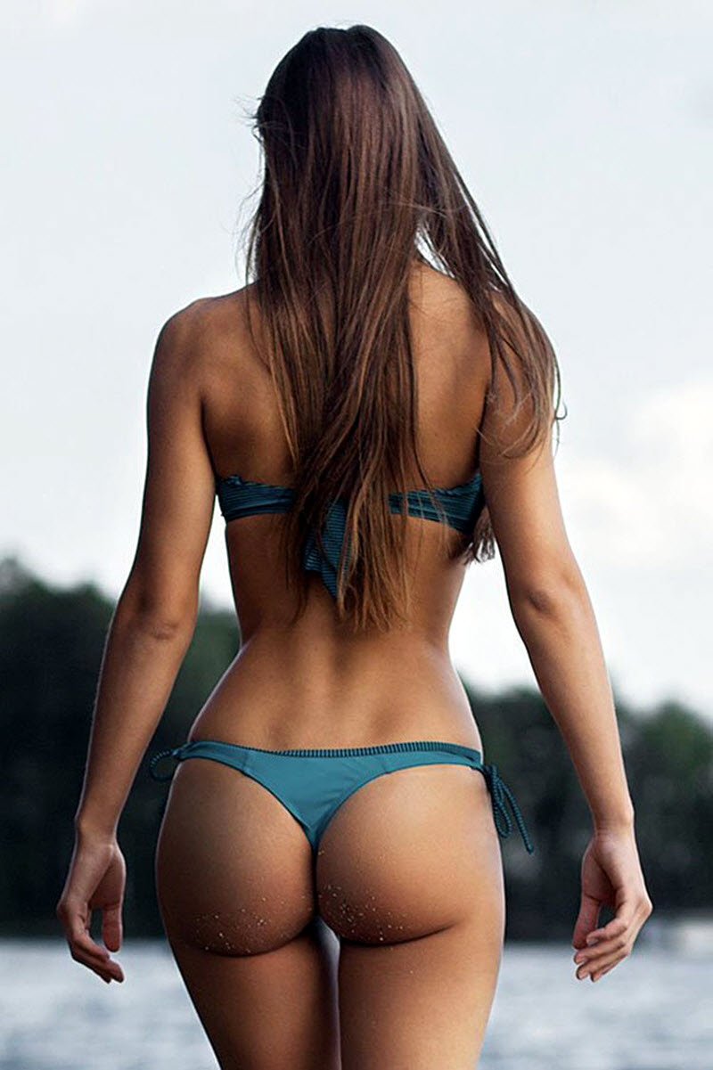 Beautiful Sexy Girls Bikinis Sandy Butts Stock Photo